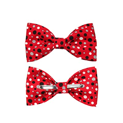 amy2004marie Boys Red Black White Gray Dots Clip On Cotton Bow Tie