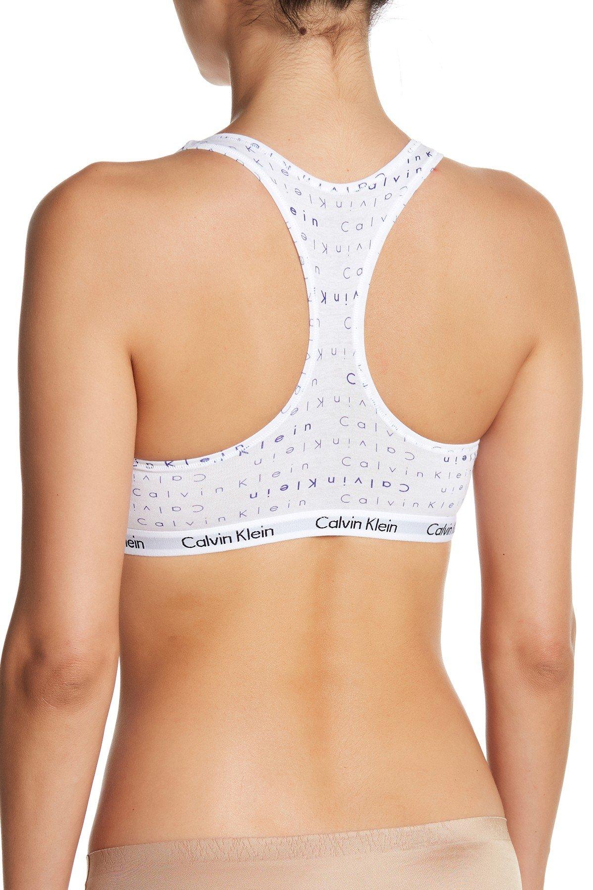 Calvin Klein Women`s Modern Cotton Bralette 1 Pack (White/Purple Print, Medium) by Calvin Klein (Image #2)