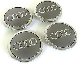 Set of Four Alloy Wheels Centre Hub Caps Grey Covers Badge 69 mm 8t0 601 170 a Fits Audi Juego de cuatro Llantas Center Tapacubos Gris/Cromo protectora nadadores Buje Tapa Buje tapas