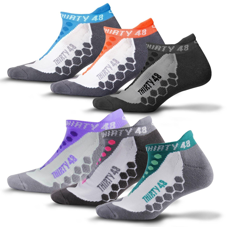 Thirty48 Running Socks Unisex, CoolMax® Fabric Keeps Feet Cool & Dry; 1,3&6 Pairs