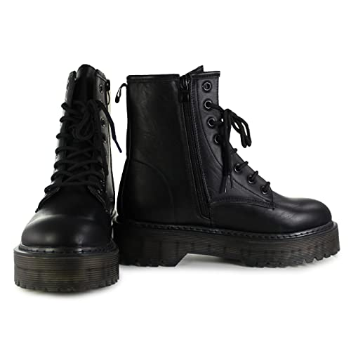 Con Cordones Estilo Bota Shoes Plataforma Vives Negro Militar c7SxUxzq