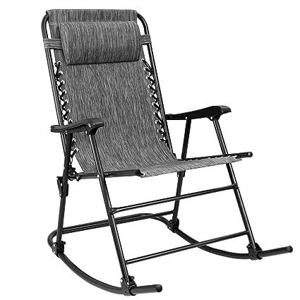 Sensational Devoko Patio Rocking Zero Gravity Chair Outdoor Wide Recliner Chair For Lawn Beach Camping Poolside With Headrest Pillow Grey Frankydiablos Diy Chair Ideas Frankydiabloscom