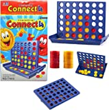 MousePotato Plastic A Row Connect 4 Compact Board Game (Blue)