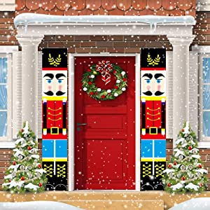 Queama Nutcracker Christmas Decorations, Life Size Soldier Model Nutcracker Porch Sign Xmas Decor Banners for Home Yard Indoor Outdoor Wall Door Kids Party (A-Style)