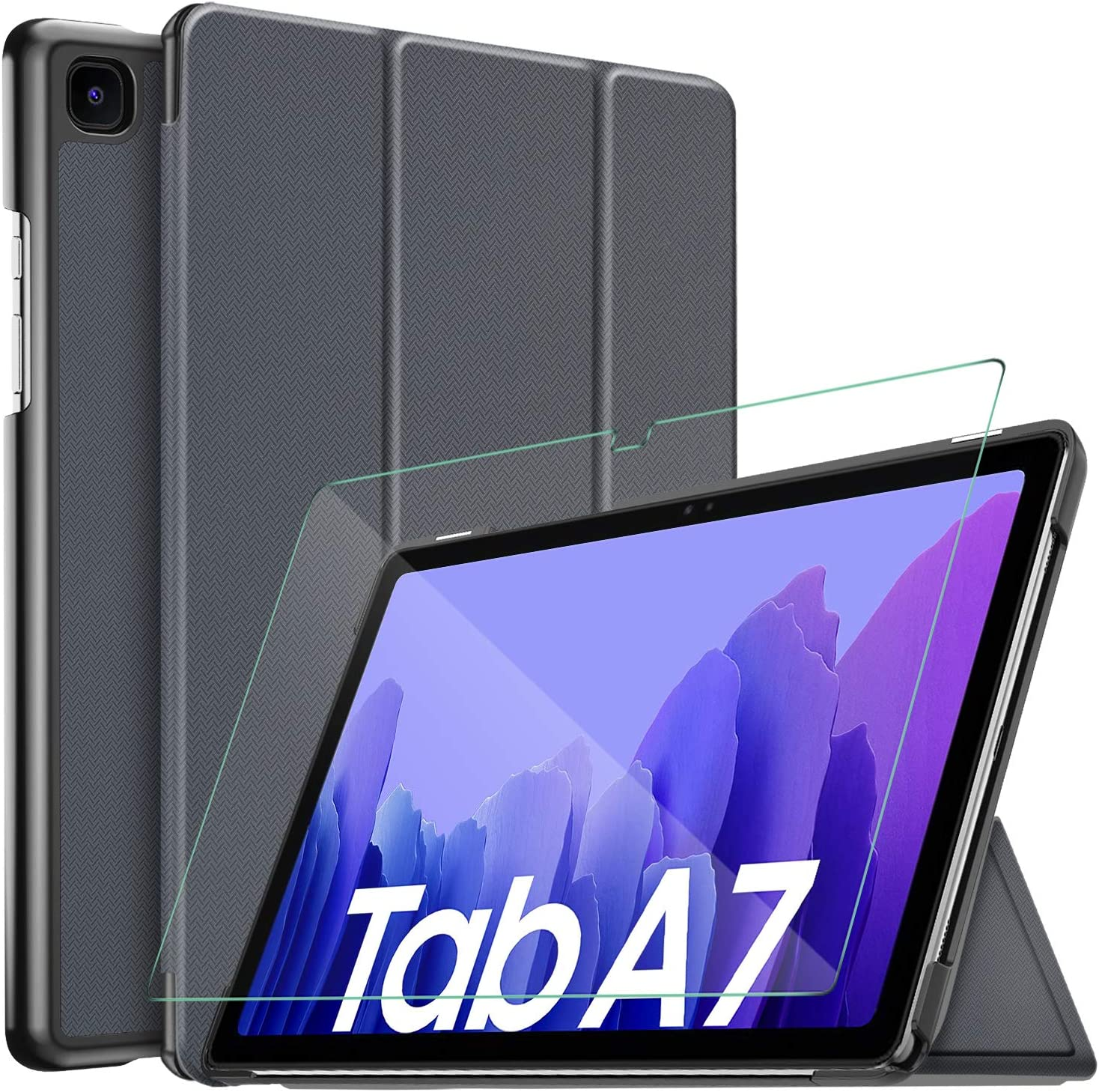 IVSO para Samsung Galaxy Tab A7 10.4 2020 Funda, Protector de Pantalla para Samsung Galaxy Tab A7 2020 con Funda para Samsung Galaxy Tab A7 T505/T500/T507 10.4 2020, Negro