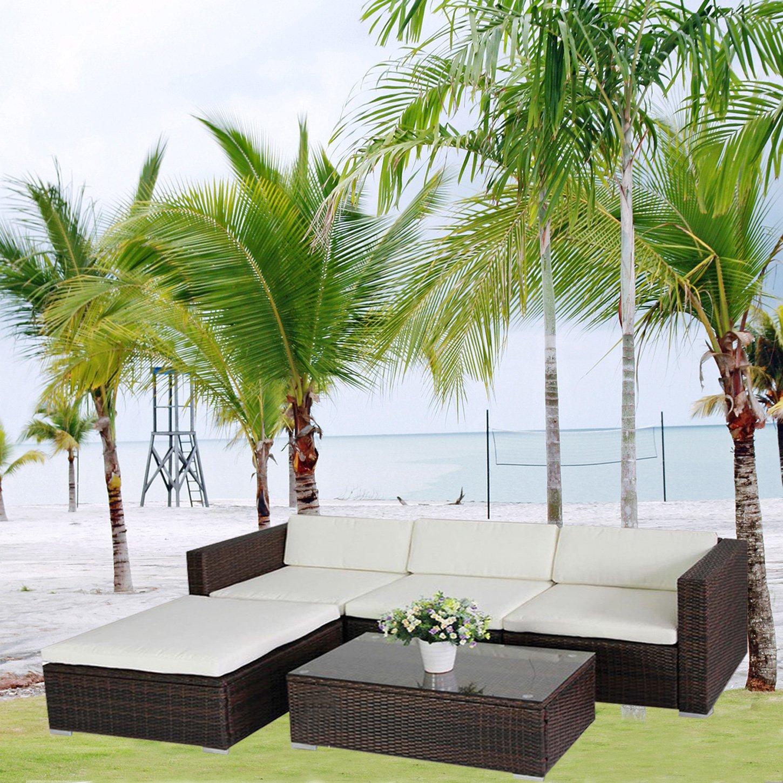 Gartenlounge rattan braun  Amazon.de: (6034) POLY RATTAN Lounge Braun Gartenset Sofa Garnitur ...