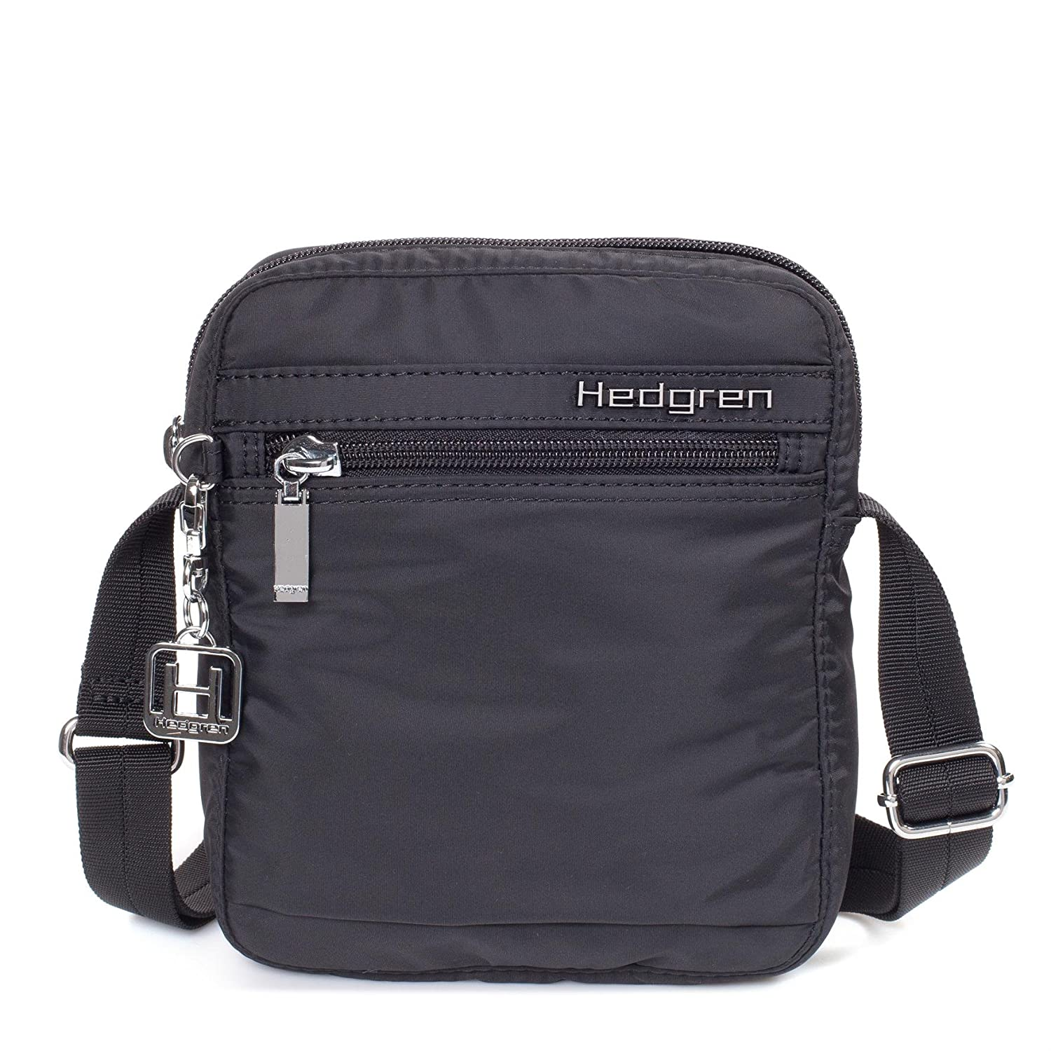 Hedgren Rush Slim Profile 6 x 2.4 x 8 Inches Womens 3 Zip Pocket Crossbody Bag Black