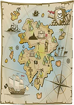 vipsung Isla Mapa Decor Mantel Cartoon Isla del Tesoro con Barco Pirata Pecho Kraken Pulpo náutica niños Sala de Juegos decoración Funda para Mesa Rectangular para Comedor kitchenes Multi: Amazon.es: Hogar