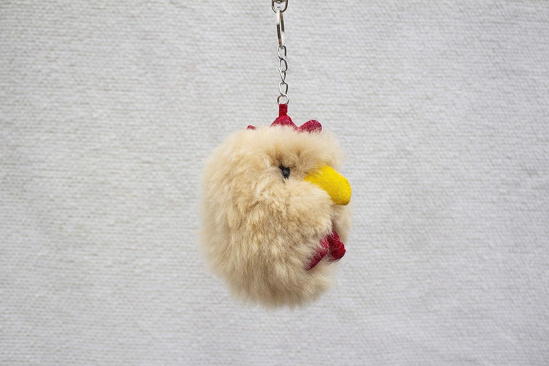 Alpaca Fur Keychain Beige Chicken
