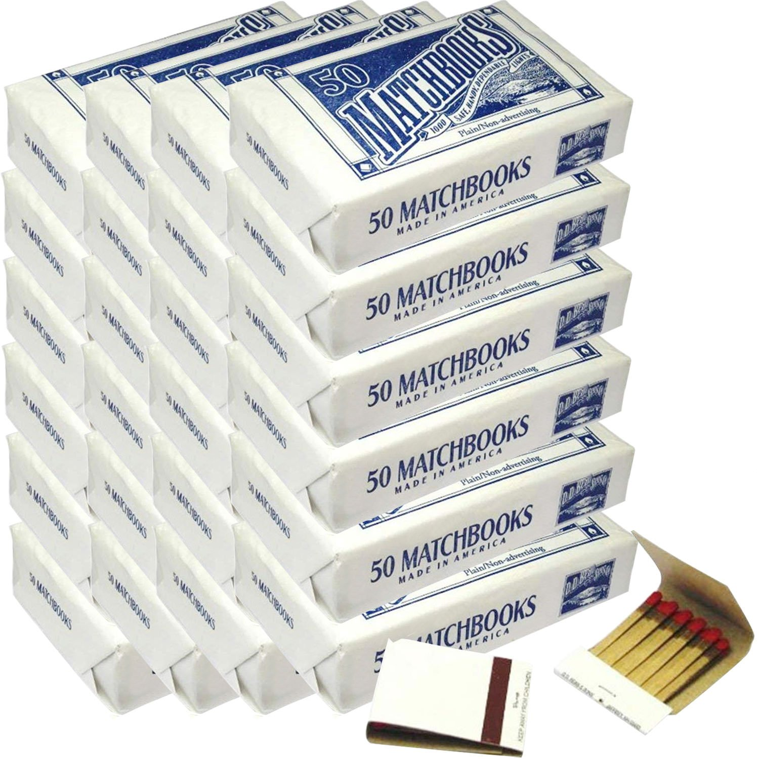 24 Boxes - Plain White Matches Matchbooks for Wedding Birthday Wholesale Made in America (1200 Matchbook Total)