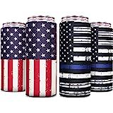 Skinny Can Cooler [ 4 Pack ] Slim Can Cooler for Slim Beer & Hard Seltzer, Skinny Beer Cans Coolie Skinny Insulators, Can Coo
