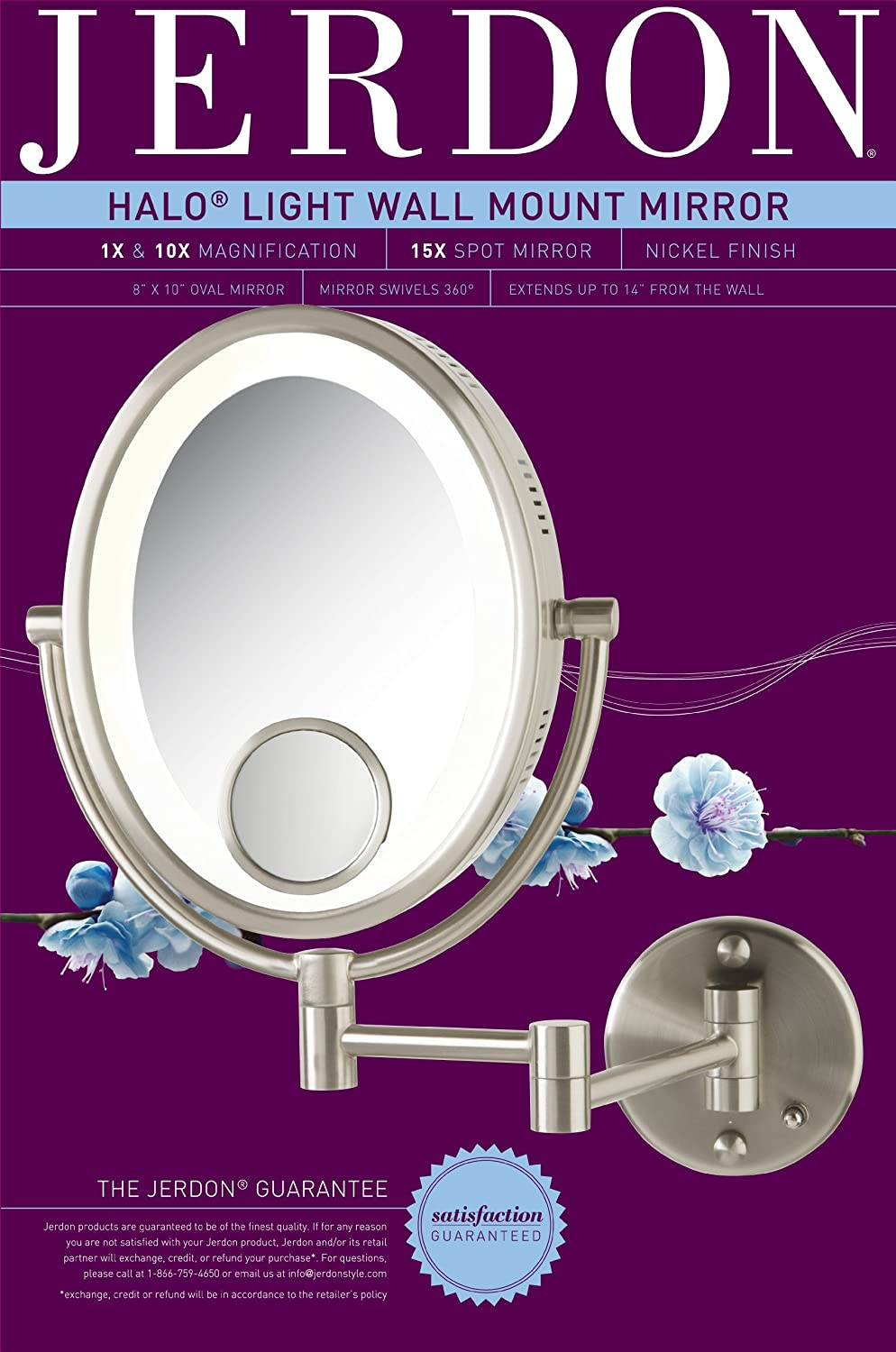 amazon com jerdon hl9515n 8 inch lighted wall mount oval makeup amazon com jerdon hl9515n 8 inch lighted wall mount oval makeup mirror 10x and 15x magnification nickel finish personal makeup mirrors beauty