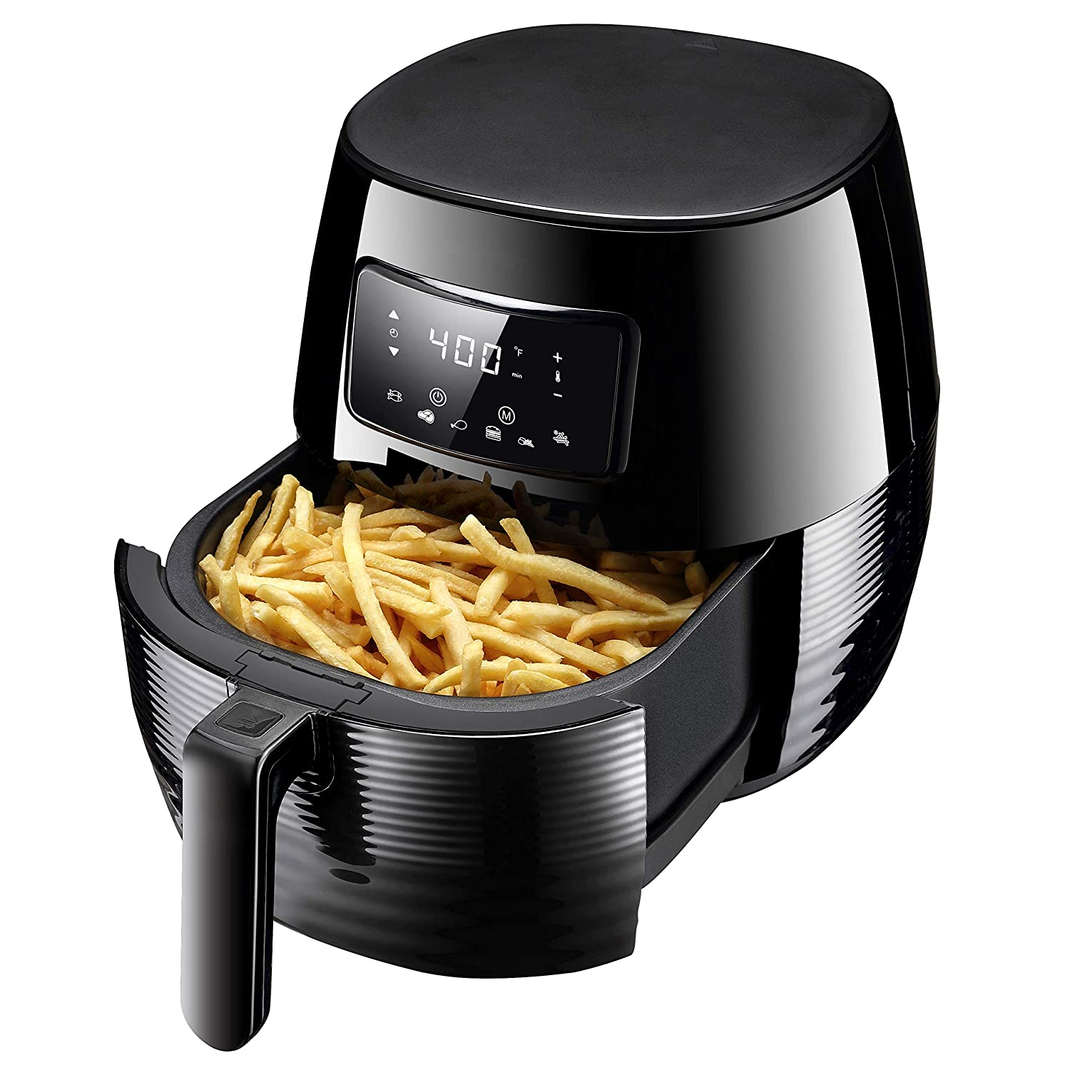 Phyismor Air Fryer 5.3 Qt, LCD Touch Screen Hot Electric Airfyer Oven Oilless Cooker with 6 Cooking Preset, 50 Cookbook Recipe, Detachable Nonstick Basket, 1400w