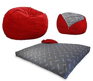 CordaRoyu0027s   Red Corduroy Convertible Bean Bag Chair   Full