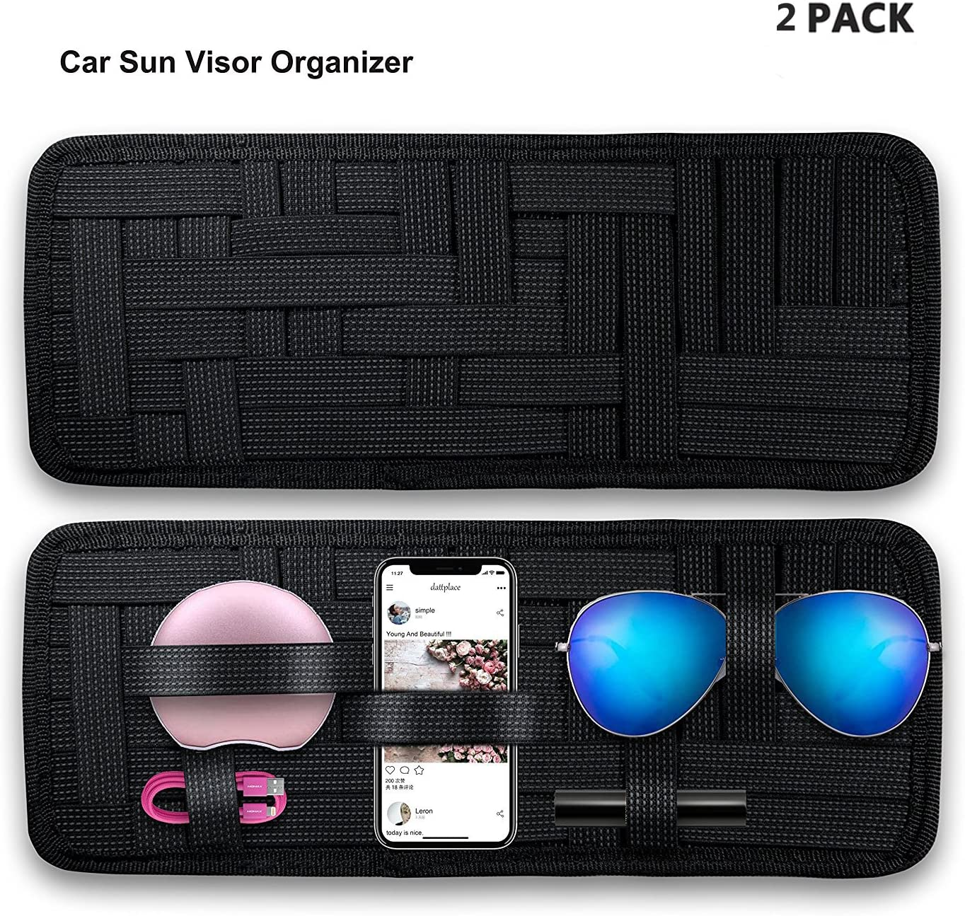 SourceTon 2 Packs Car Sun Visor Organizer Car Visor Storage Anti-Slip Elastic Woven Board for Sunglass Holder Parking Fuel Card Digital Accessories