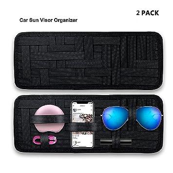 SourceTon 2 Packungen Auto Visier Lagerung Anti-Rutsch-Elastic Woven Board f/ür Sonnenbrille Halter Parken Kraftstoffkarte Digital Zubeh/ör Auto Sonnenblende Organizer