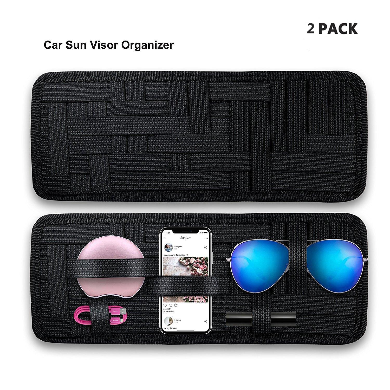 Car Sun Visor Organizer,KEKU 2 Packs Car Visor Storage Anti-Slip Elastic Woven Board for Sunglass Holder Parking Fuel Card Digital Accessories