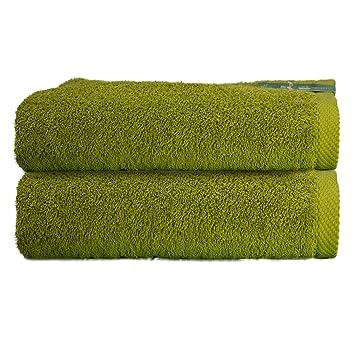 ADP Home - Toallas De Sábana/Baño Calidad De 100% Algodón Peinado 550Grms Pack De 2 Unidades - Color - Verde oliva - Talla - 100 x 150 cm: Amazon.es: Hogar