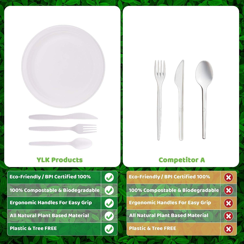 YLK Products, juego de platos y cubiertos biodegradables, 200 ...