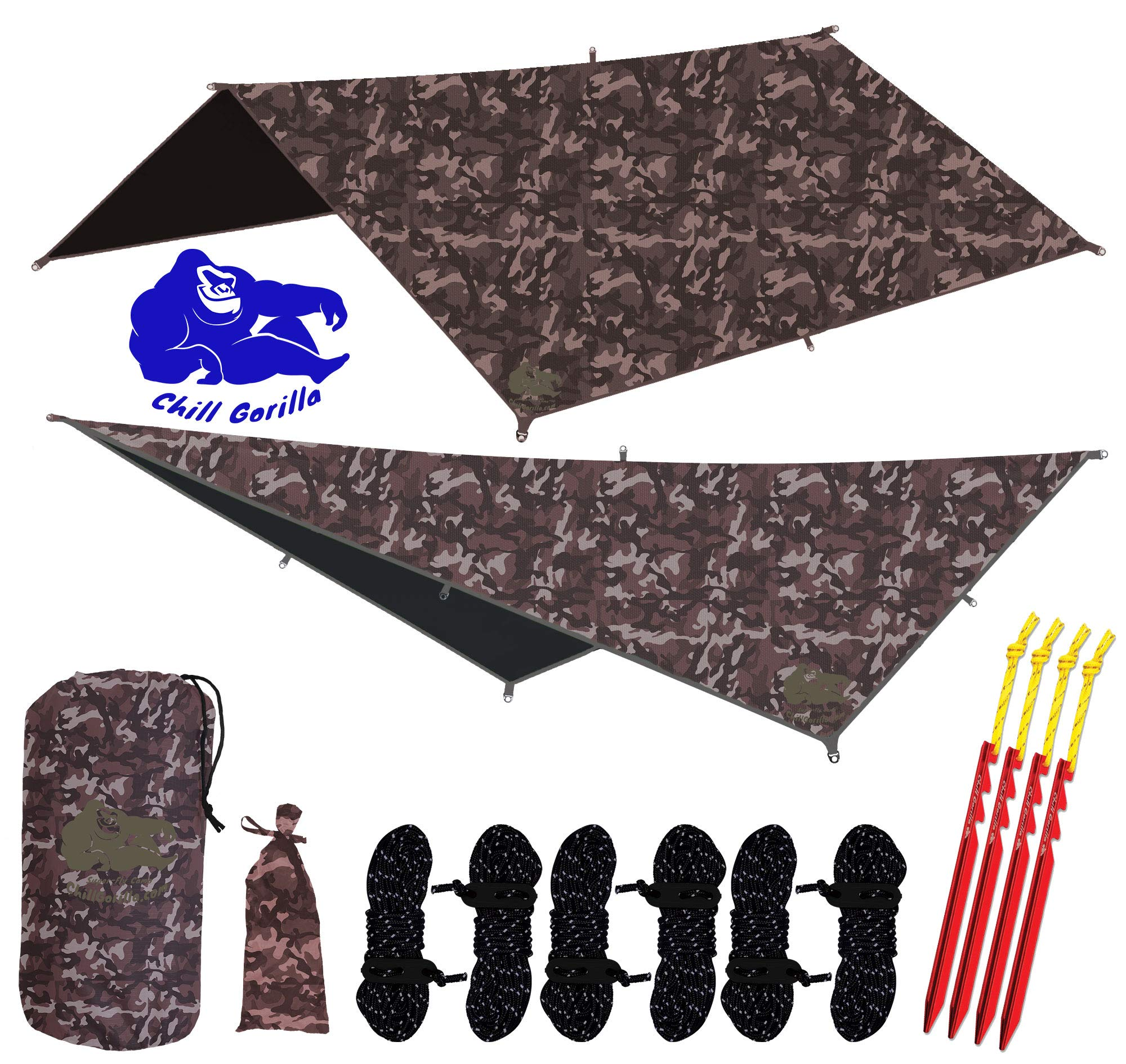 Chill Gorilla 10x10 Hammock Rain Fly Camping Tarp. Ripstop Nylon. 170'' Centerline. Stakes, Ropes & Tensioners Included. Camping Gear & Accessories. Perfect Hammock Tent. CAMO by Chill Gorilla