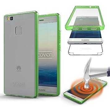 Urcover® Huawei P9 Lite Funda [Nueva Versión ] Mejorada Funda Carcasa Huawei P9 Lite [Completa 360 Grados ] TPU Verde Crystal Clear Case Inalámbrica ...
