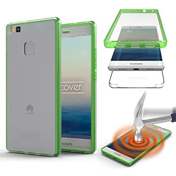 Urcover® Huawei P9 Lite Funda Versión Mejorada Funda Carcasa Huawei P9 Lite [Completa 360 Grados ] TPU Verde Crystal Clear Case Inalámbrica Qi Móvil ...