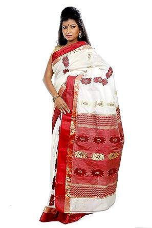 a404a99439d Amazon.com: B3Fashion Indian Handloom Bengal Traditional Pure Garad silk  saree: Clothing