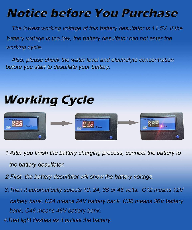 cleanpower Lead Acid Batteries 12v 24v 36v 48v Battery Regenerator 2A Auto Pulse Desulfator Blue