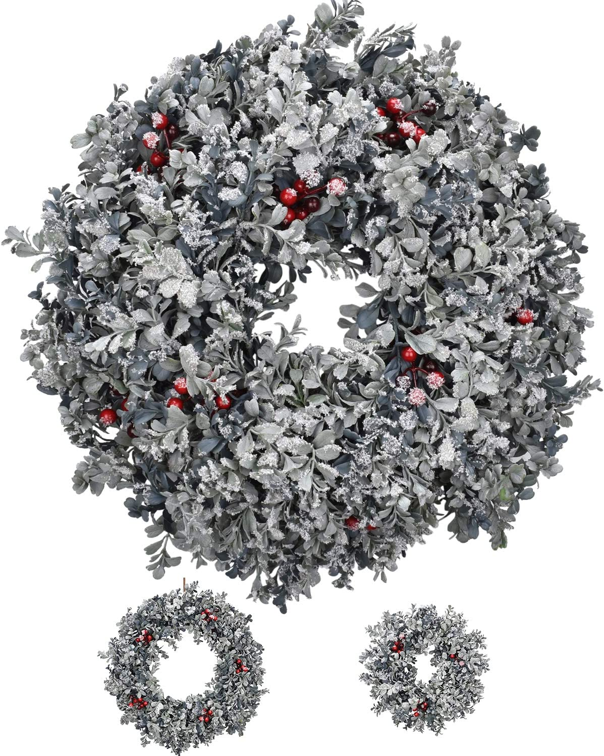 RED DECO Christmas Boxwood Wreaths for Front Door 20