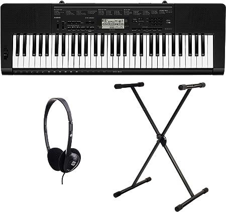 Casio CTK-1100 3500 Juego de teclado (61 teclas, 48 de compartimento POLYPHON, Dance Music Mode, Acompañamiento automático, incluye soporte para ...