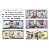$100X20 Pcs $50X20 Pcs $20X20pcs $10X20 Pcs $5X20 Pcs Total $3,700 Dollar Copy Bills Magic Props Money