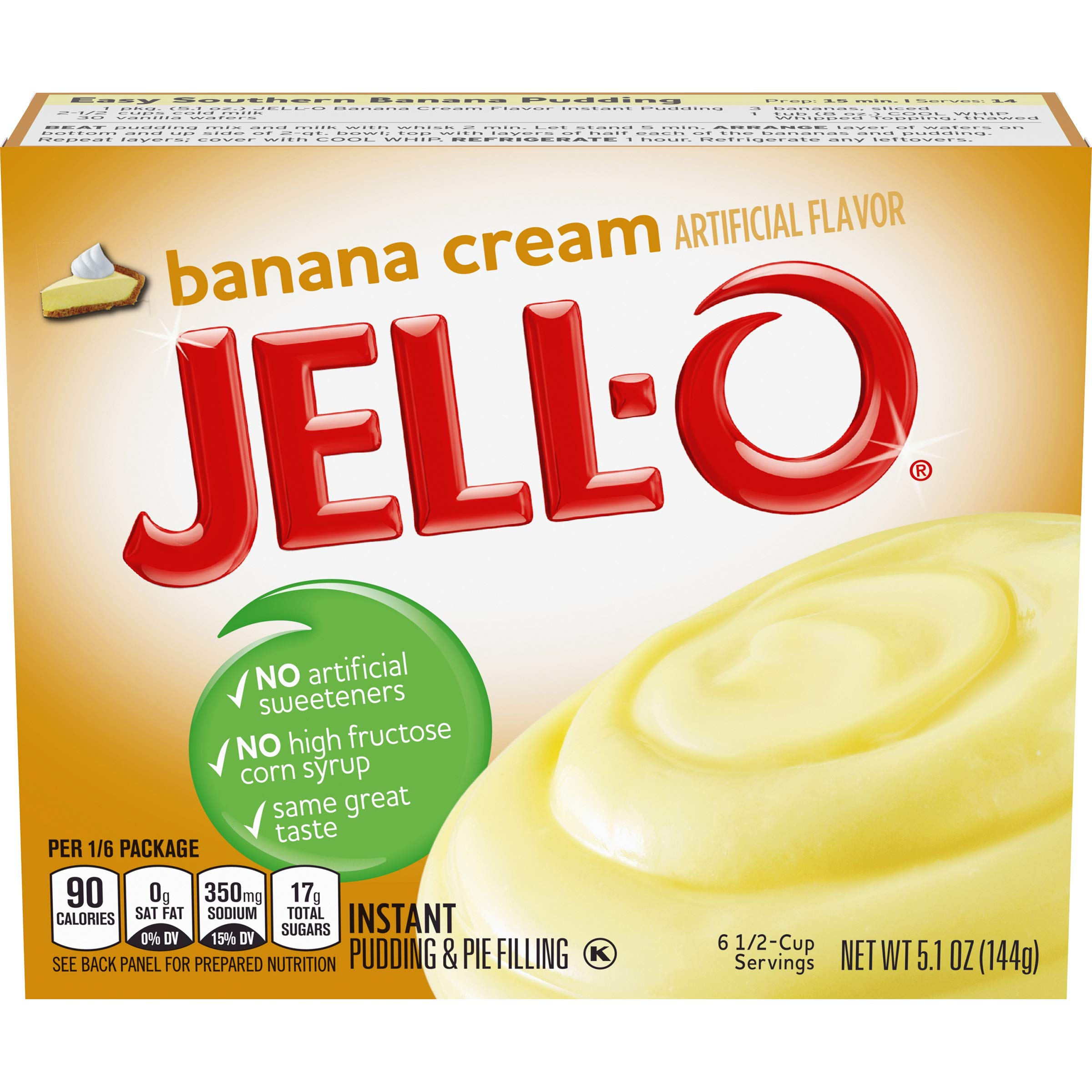 Jell-O Banana Cream Instant Pudding Mix 5.1 Ounce Box (Pack of 6)