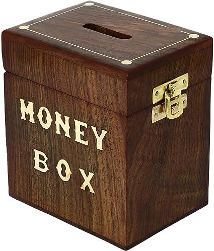 Design1 Handmade Money Box Wooden Piggy Bank For Boys Girls And Adults