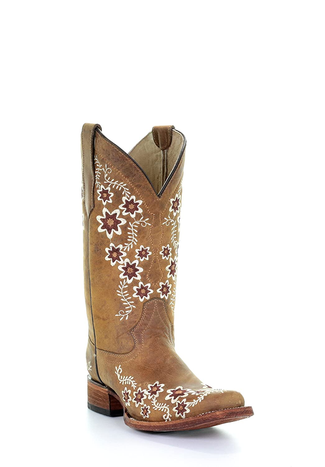 6bc1e3b295a Corral Circle G Women's Floral Embroidery Square Toe Leather Cowgirl Boots  - Tan