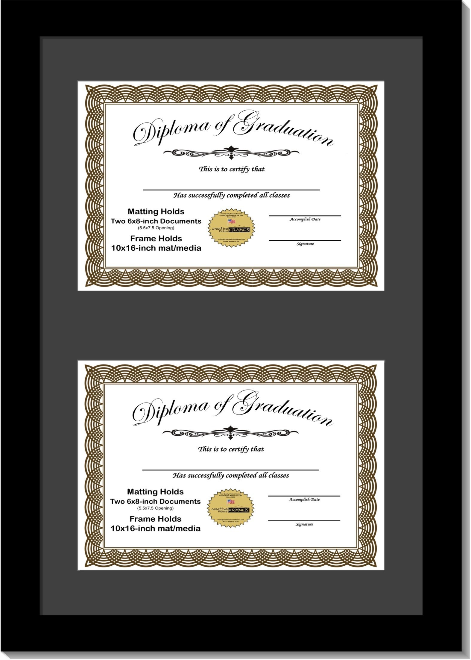 CreativePF [6x8-2-10x16bk-b] Black Double Diploma Frame with 2 Opening Black Matting   Holds 2-6x8-inch Documents with Installed Wall Hanger