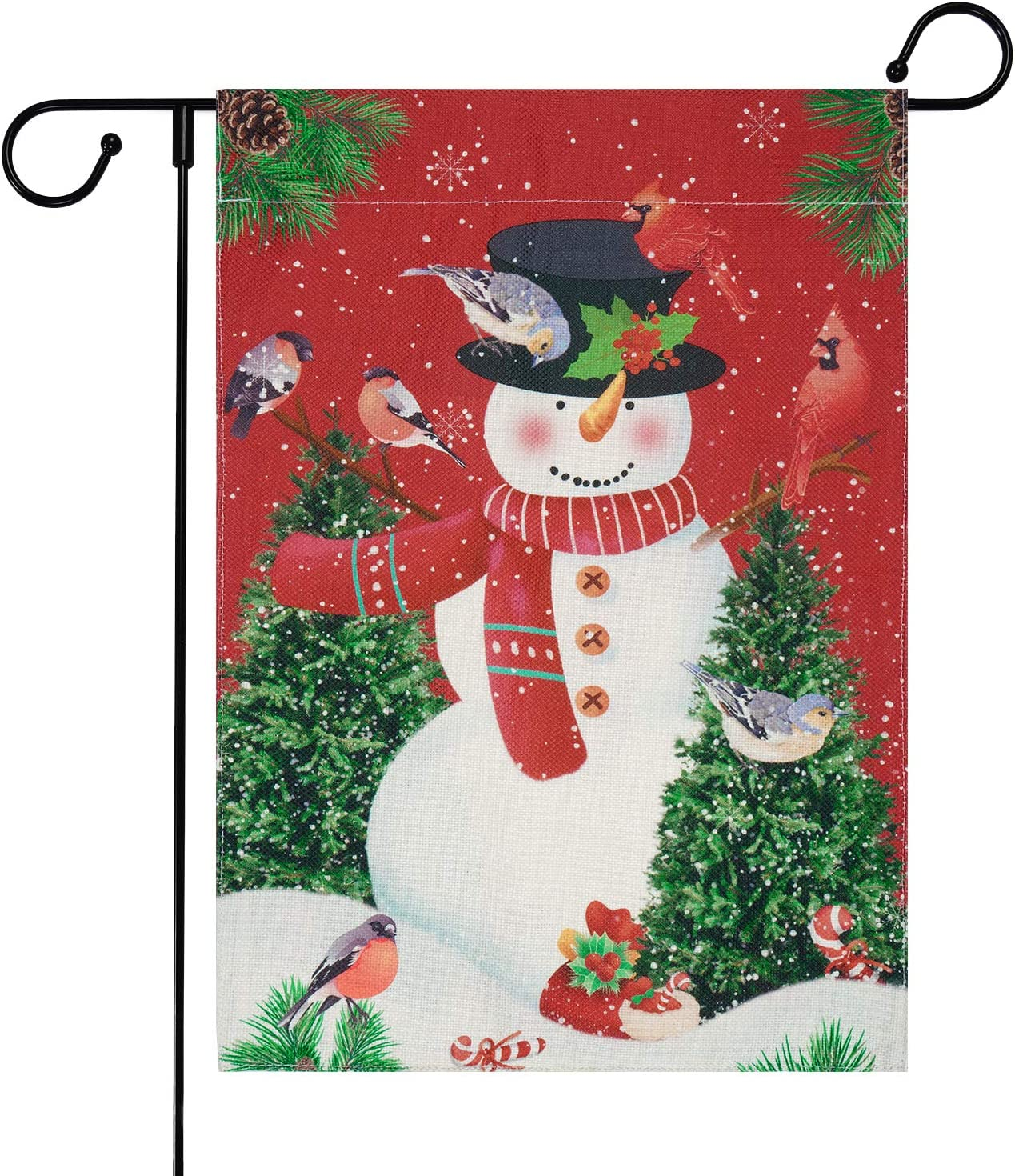 Merry Christmas Garden Flag, Snowman Yard Flag with Anti-Wind Clip, Snowflake House Flags with Tree , Decorative Holiday Flags for Outside, Winter Garden Flags Burlap Double Sided, 12.5 x 18 inches