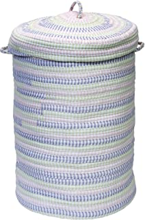 product image for Colonial Mills Ticking-Stripe Fabric Hamper with Lid Purple