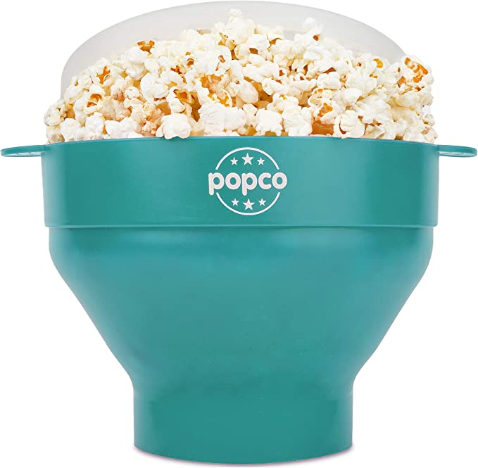 The Original Popco Silicone Microwave Popcorn Popper with Handles, Silicone Popcorn Maker, Collapsible Bowl Bpa Free and Dishwasher Safe - 15 Colors Available (AQUA)   Amazon