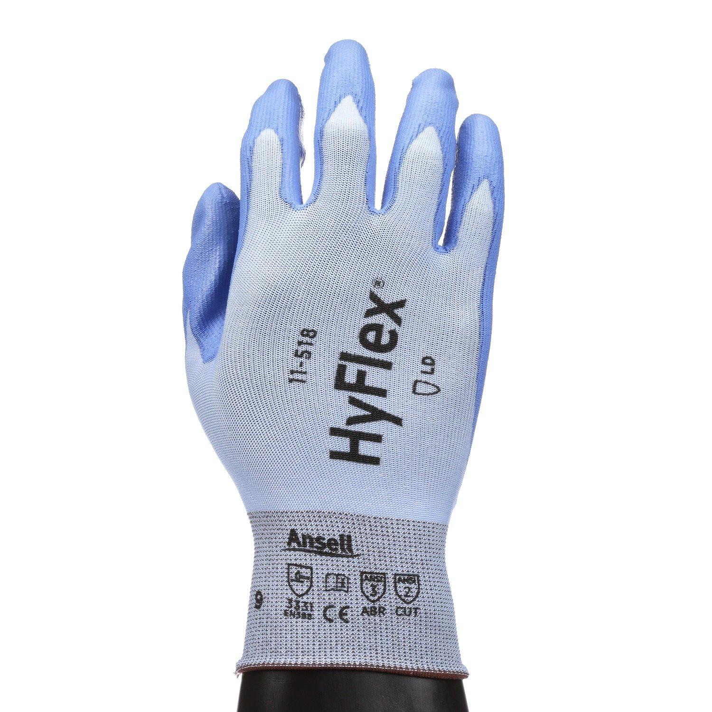 Ansell HyFlex 11-518 Schnittschutz-Handschuhe, Mechanikschutz, Blau, Grö ß e 6 (12 Paar pro Beutel) 11-518-235130