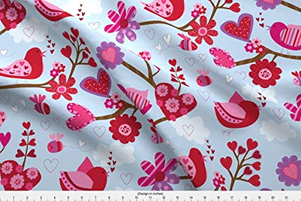 Amazon Com Valentine Fabric Birds And Bees By Designs By Lisa K