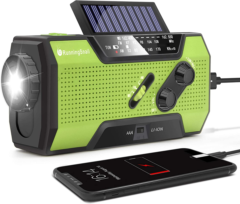 RunningSnail Solar Crank NOAA Weather Radio for Emergency