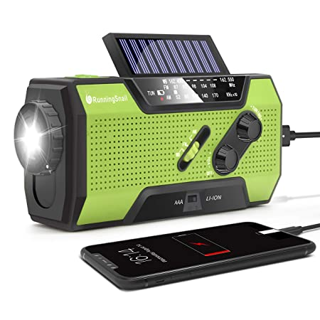side facing runningSnail solar powered weather radio