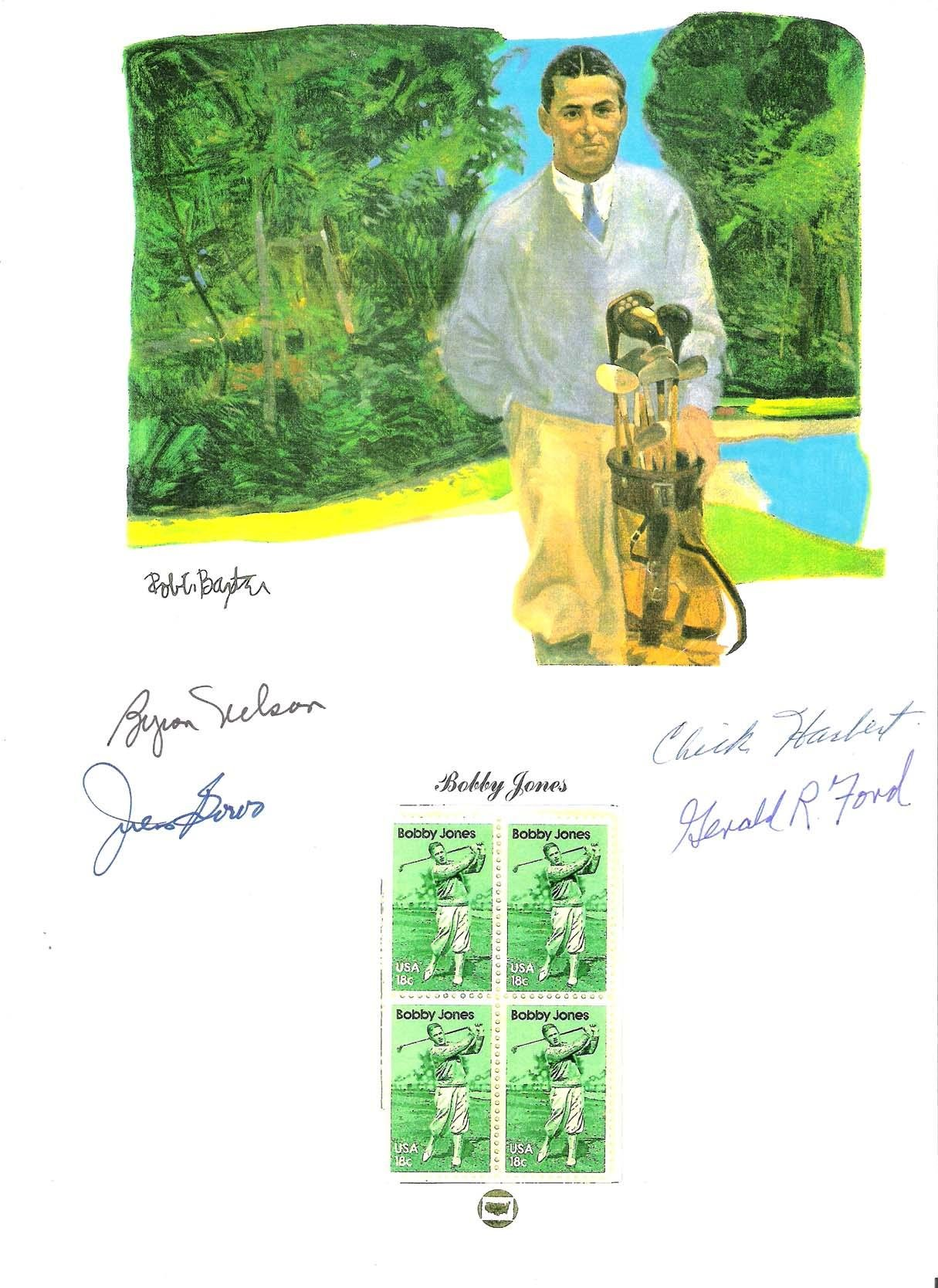 LEGENGS of GOLF BYRON NELSON (Passed Away 2006), JULIUS BOROS (Passed Away 1994), CHICK HARBERT (Passed Away 1992 and PRESIDENT GERALD R FORD (Passed Away 2006) Signed 8x11 Paper Thin