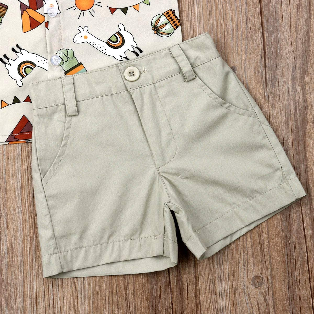 Toddler Kid Baby Boys Short Sleeve Tops T-Shirt Button Down Shirts Shorts Pants 2Pcs Summer Outfits 1-6Y