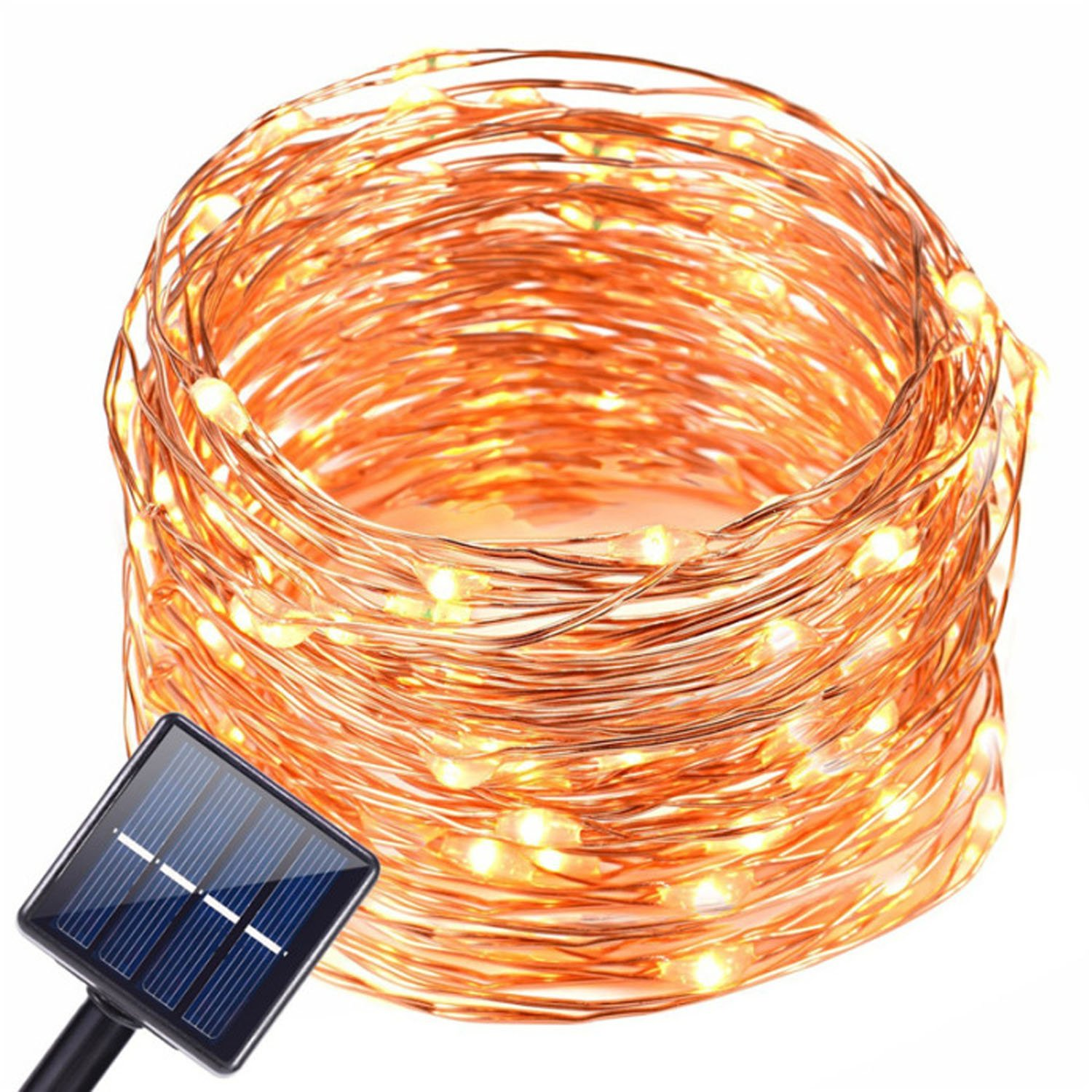 Solar Fairy Lights Copper Wire 200 LEDs String Lights Starry Fairy Lights, 8Modes 66ft/20m Waterproof Outdoor Lights for Patio, Garden, Party (Warm White)