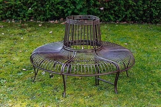 Banco de jardín Set árbol Banco Antiguo Estilo Metal de Hierro ...
