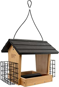 Nature's Way Bird Products BWF16 Bamboo Hopper Bird Feeder with Suet Cage, 4-Quart