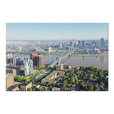 Cincinnati, Ohio - Aerial of The Skyline & River 9026767 (Premium 500 Piece Jigsaw Puzzle for Adults, 13x19, Made in USA!): Toys & Games