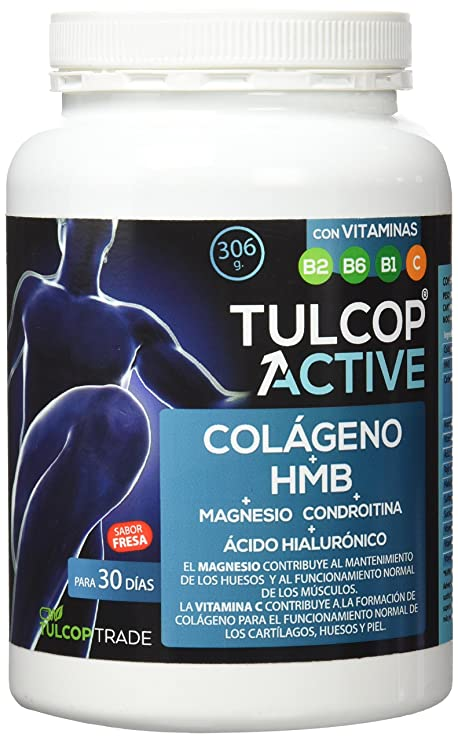 Tulcop Colágeno con HMB, Magnesio, Ácido Hialurónico y Condroitina Active - 306 gr