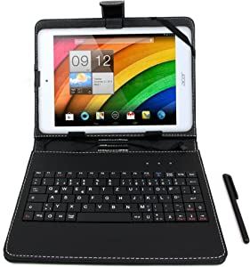 DURAGADGET Black Faux Leather Case w/Micro USB German QWERTZ Keyboard - Compatible with Acer Iconia A1-830 | Iconia W4-820 8.1-inch | Iconia W3 & Iconia A1 Tablets